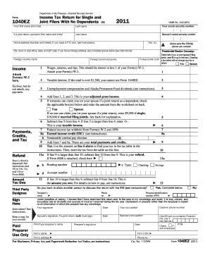 1040ez 2011 2011 Form IRS 1040-EZ Fill Online, Printable, Fillable, Blank ...