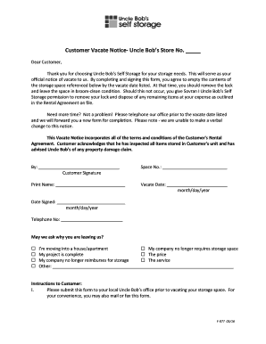 sample notice to vacate storage unit form