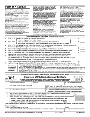 2013 Form IRS W-4 Fill Online, Printable, Fillable, Blank - PDFfiller
