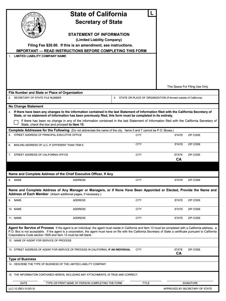2013 2019 Form Ca Llc 12r Fill Online Printable Fillable