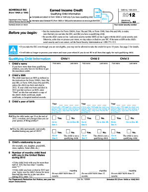 2012 form irs 1040 schedule eic fill online printable for 1040 earned income credit table 2012
