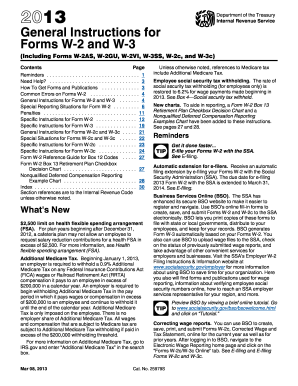 2013 Form IRS Instruction W-2 & W-3 Fill Online, Printable ...