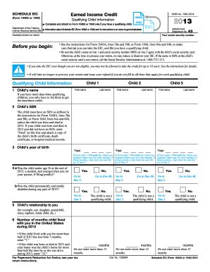 Worksheets 1040 Eic Worksheet 2013 form irs 1040 schedule eic fill online printable fillable versions