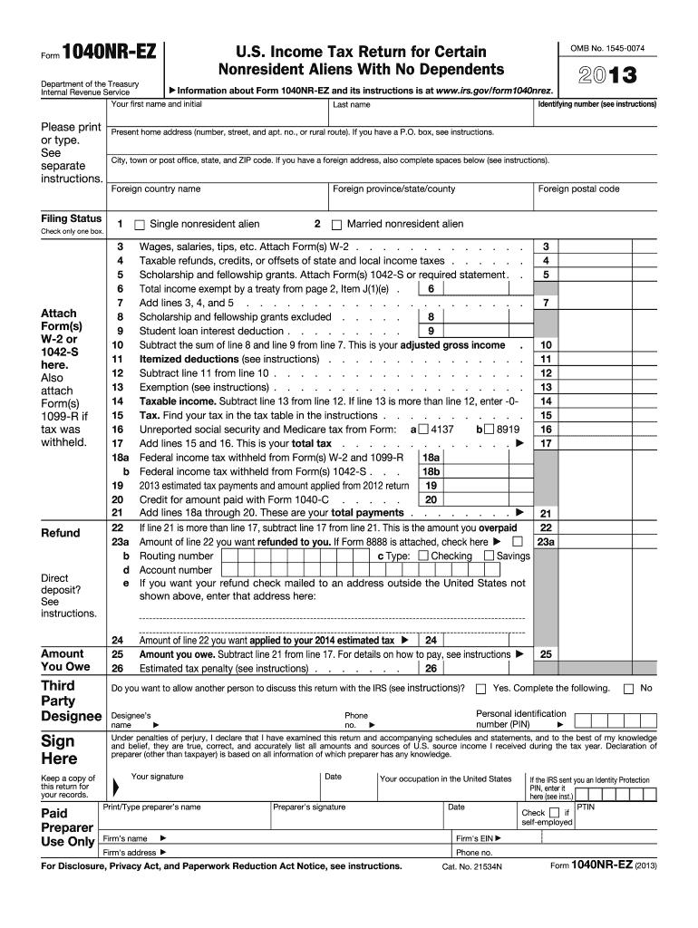 form 1040nr ez  6 Form IRS 6NR-EZ Fill Online, Printable, Fillable ...