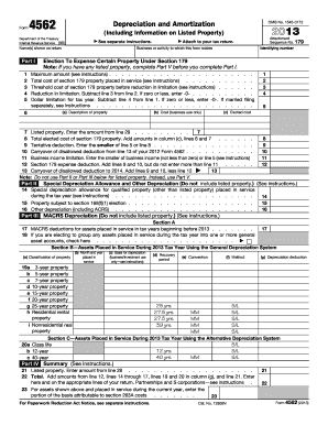 2013 Form IRS 4562 Fill Online, Printable, Fillable, Blank - PDFfiller