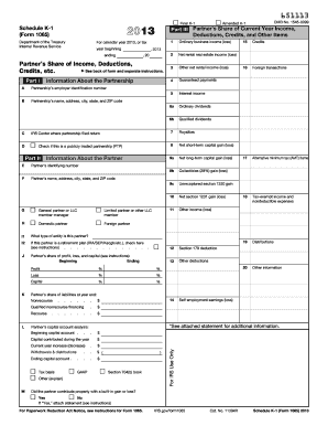 2013 Form IRS 1065 - Schedule K-1 Fill Online, Printable ...