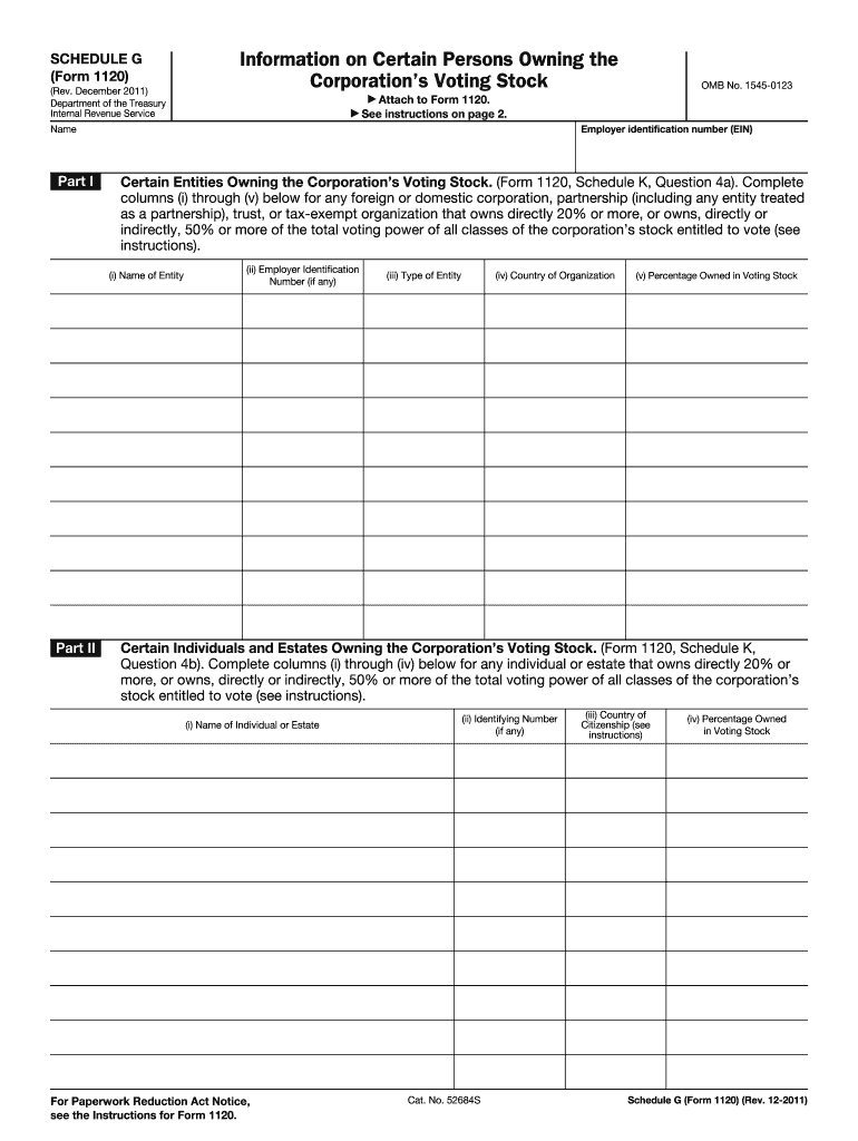 2011-2019 Form IRS 1120 - Schedule G Fill Online, Printable