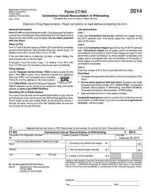 2014 Form CT DRS CT-W3 Fill Online, Printable, Fillable ...