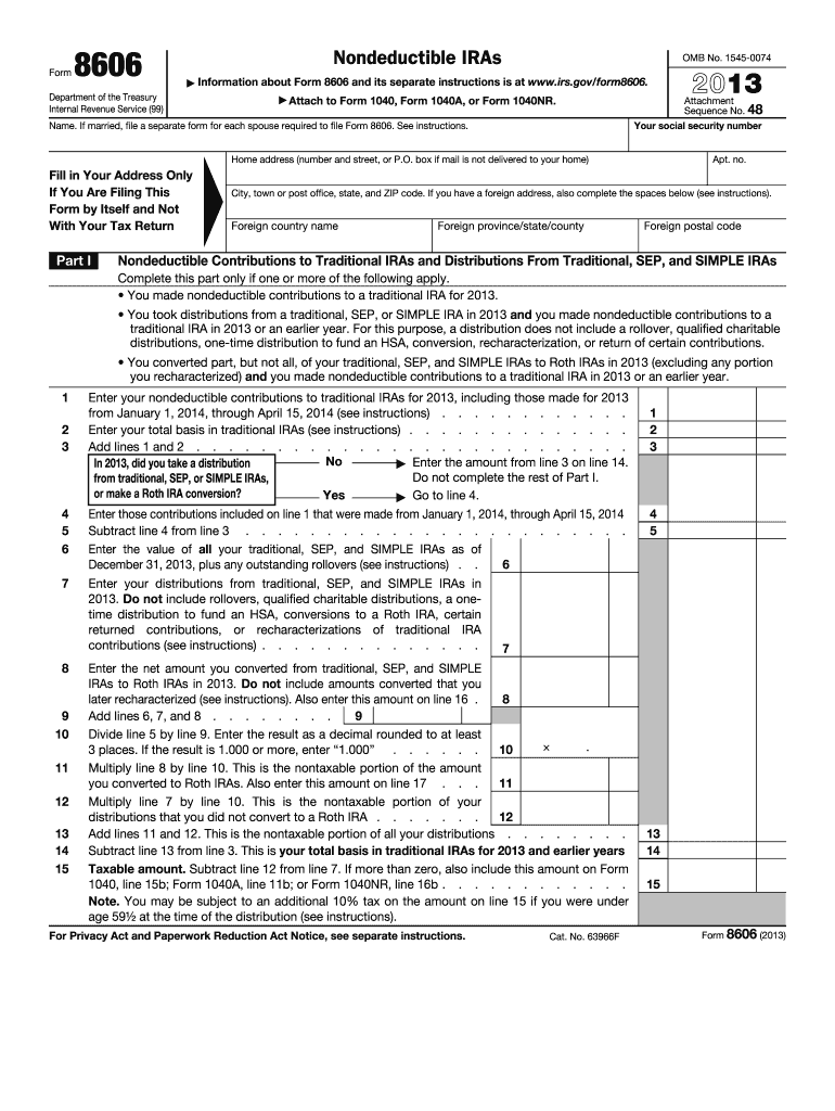 2013 Form IRS 8606 Fill Online, Printable, Fillable, Blank