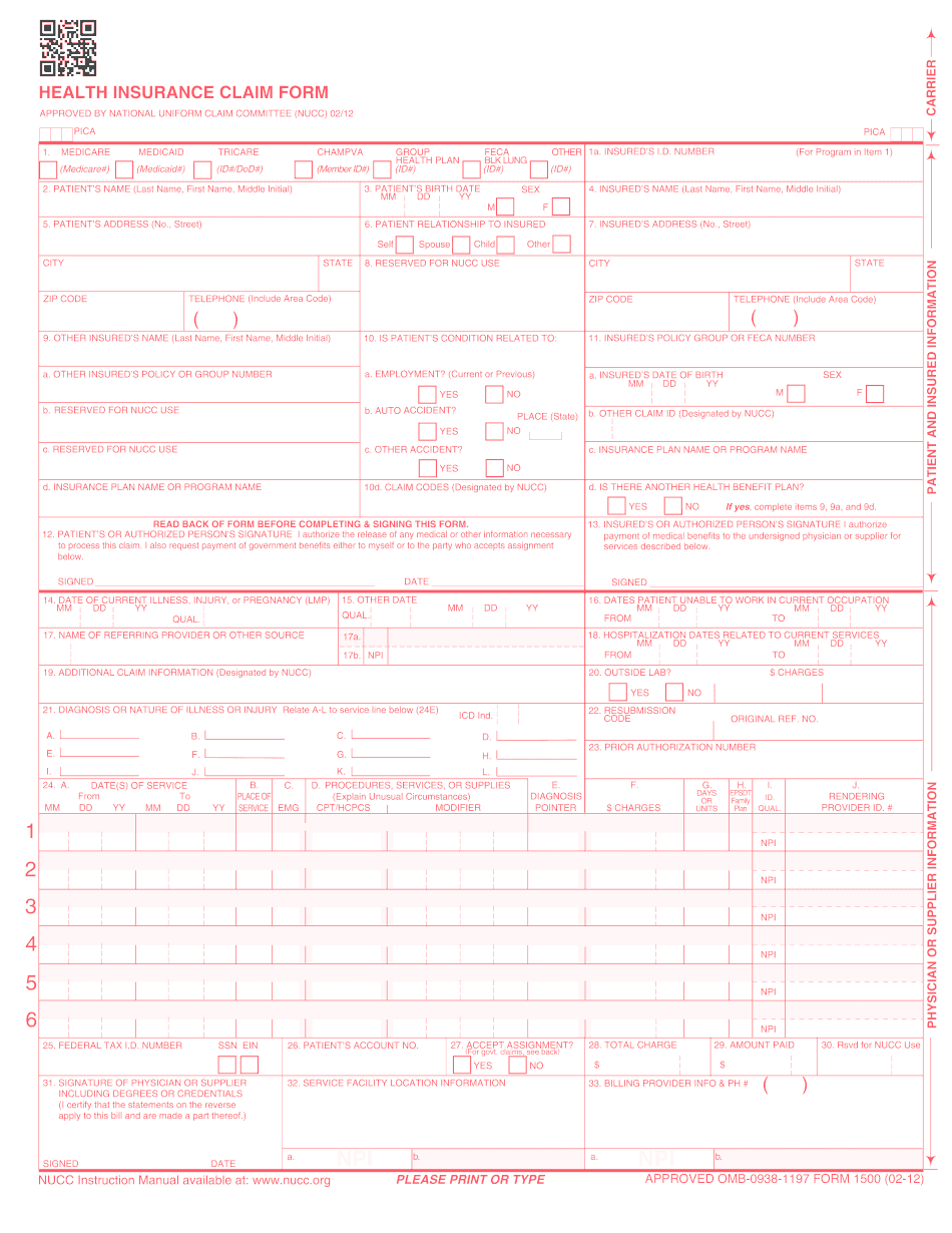 cms 1500 claim form instructions workers compensation