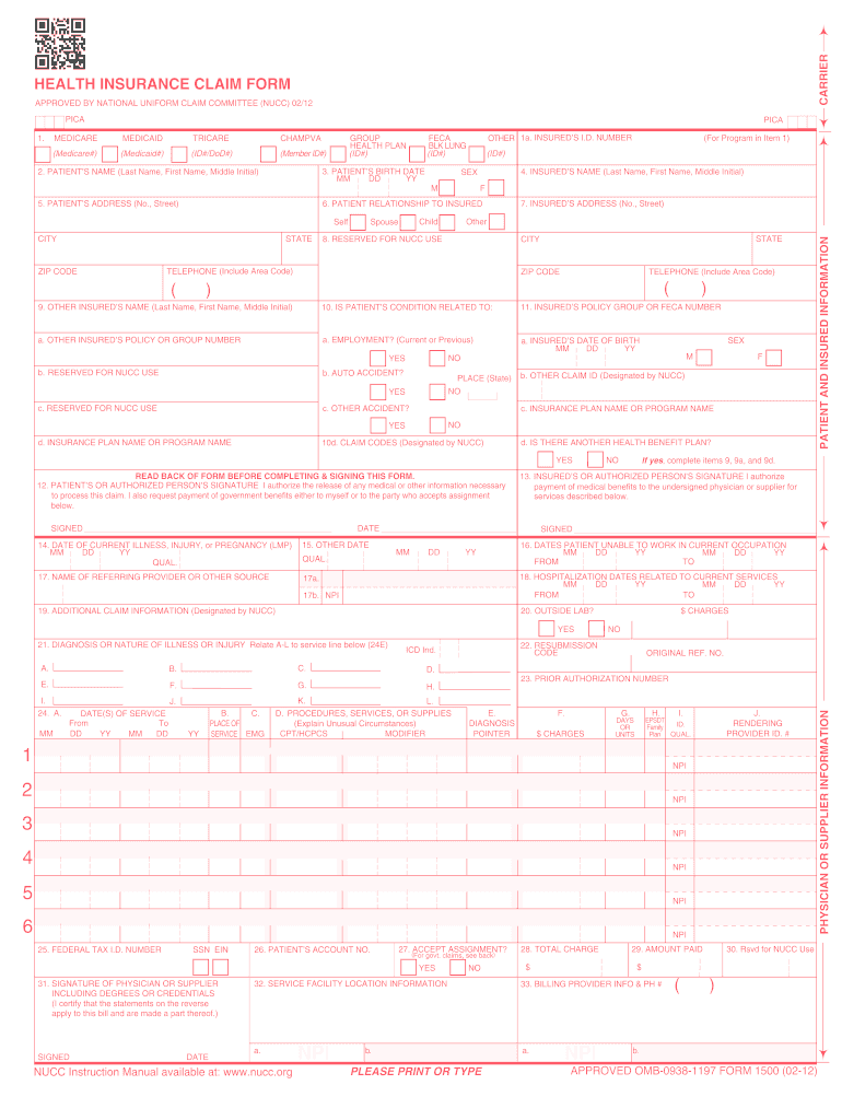 image relating to 1500 Claim Form Printable named 2012-2019 Sort CMS 1500 Fill On the internet, Printable, Fillable