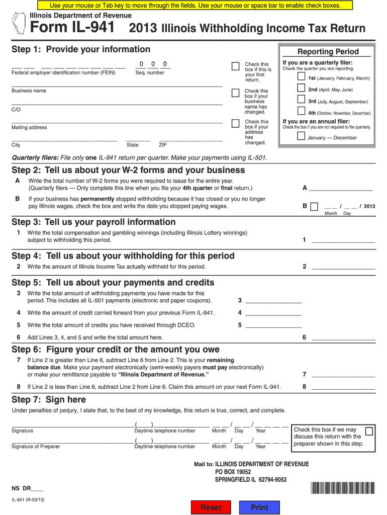 941 form 2013  13 Form IL DoR IL-13-X Fill Online, Printable, Fillable ...