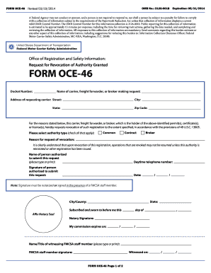2014 2018 Form Fmcsa Oce 46 Fill Online Printable