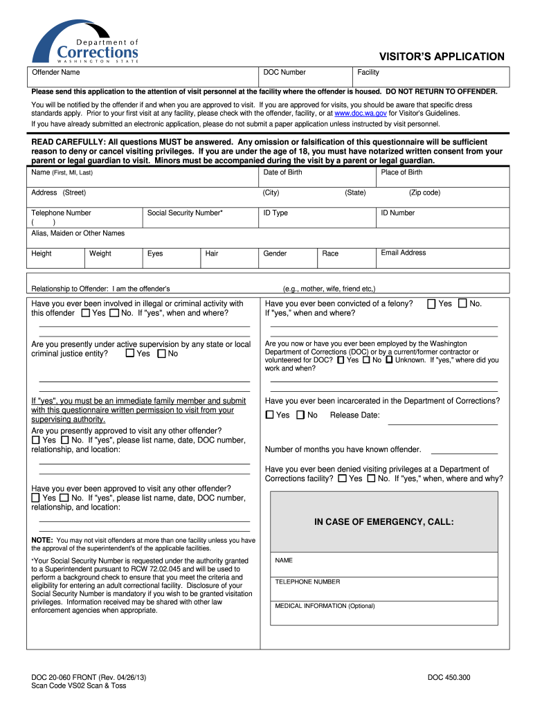 2013-2019 Form WA DOC 20-60 Fill Online, Printable, Fillable