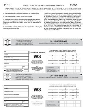2013 Form RI DoT RI-W3 Fill Online, Printable, Fillable ...