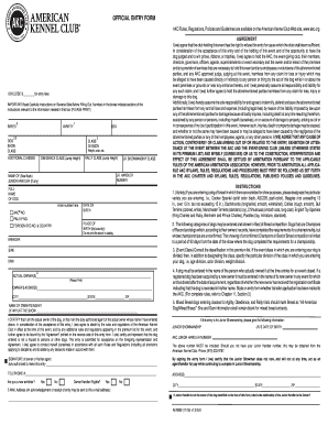 Printable Akc Entry Form