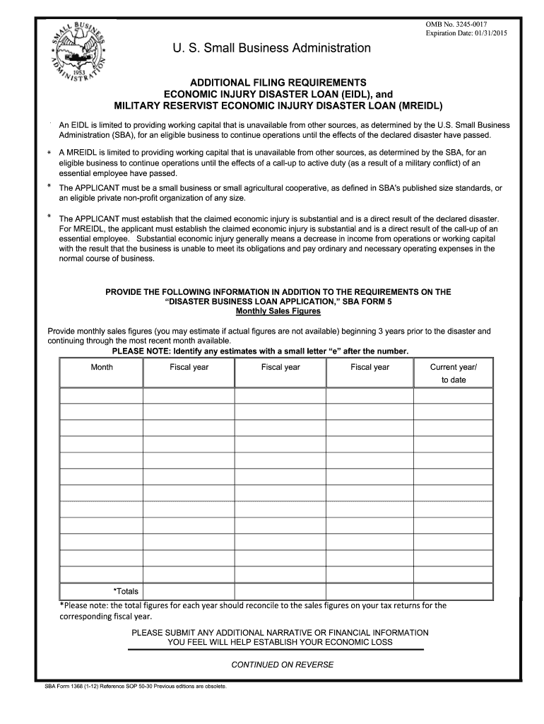 2012-2019 Form SBA 1368 Fill Online, Printable, Fillable