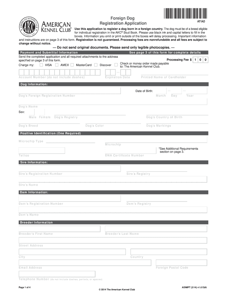 2014-2019 Form AKC Foreign Dog Registration Application Fill