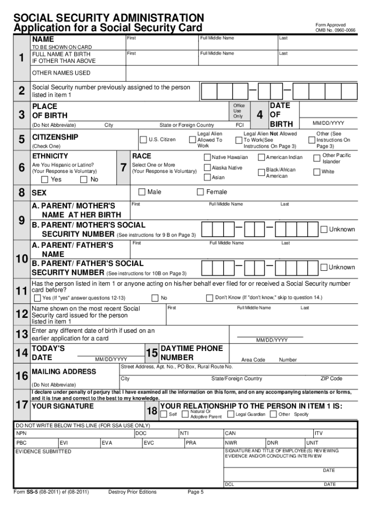 photo regarding Printable Social Security Card Template named 2011-2019 Style SSA SS-5 Fill On-line, Printable, Fillable