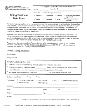 doing business data form