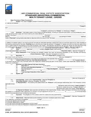 industrial multi tenant 2007 form - Tenant Lease Form