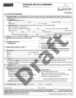 2014 2019 Form Ga Purchase Sale Agreement Fill Online Printable
