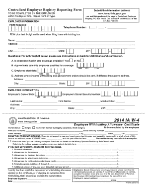 image regarding W4 Form Printable referred to as 2014 Kind IA DoR W-4 Fill On the net, Printable, Fillable, Blank