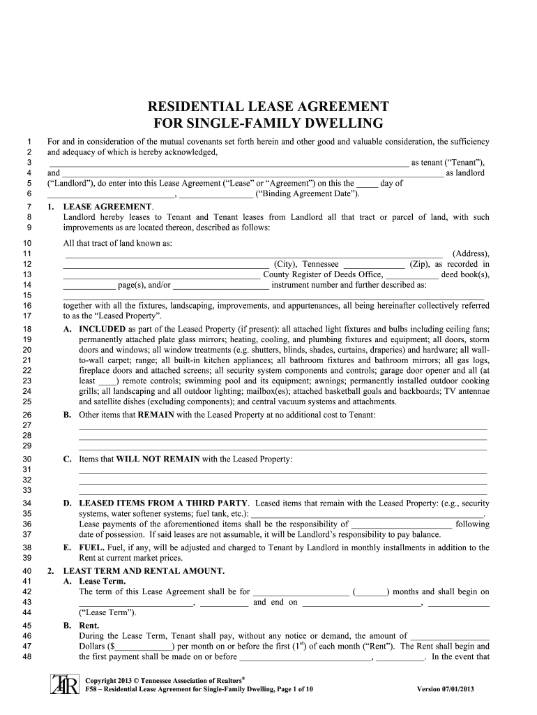 Tennessee Residential Lease Agreement For Single Family