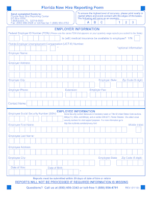 2010-2017 FL New Hire Reporting form Fill Online, Printable ...