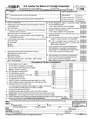 2014 Form IRS 1120-F Fill Online, Printable, Fillable, Blank ...