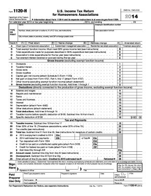 1120 form 2014 2014 Form IRS 1120-H Fill Online, Printable, Fillable, Blank - PDFfiller