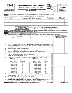 2014 form irs 2441 fill online printable fillable blank pdffiller