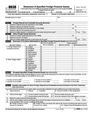 2014 Form IRS 8938 Fill Online, Printable, Fillable, Blank - PDFfiller