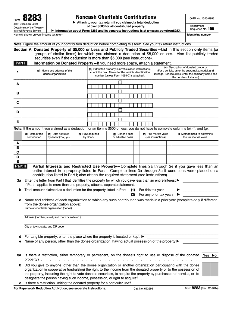 2014-2019 Form IRS 8283 Fill Online, Printable, Fillable