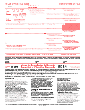 2014 Form IRS W-3PR Fill Online, Printable, Fillable, Blank ...