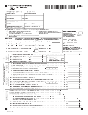 2016 Form MD Comptroller 502 Fill Online, Printable, Fillable ...