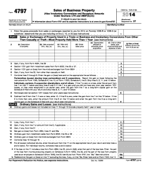 2014 Form IRS 4797 Fill Online, Printable, Fillable, Blank - PDFfiller