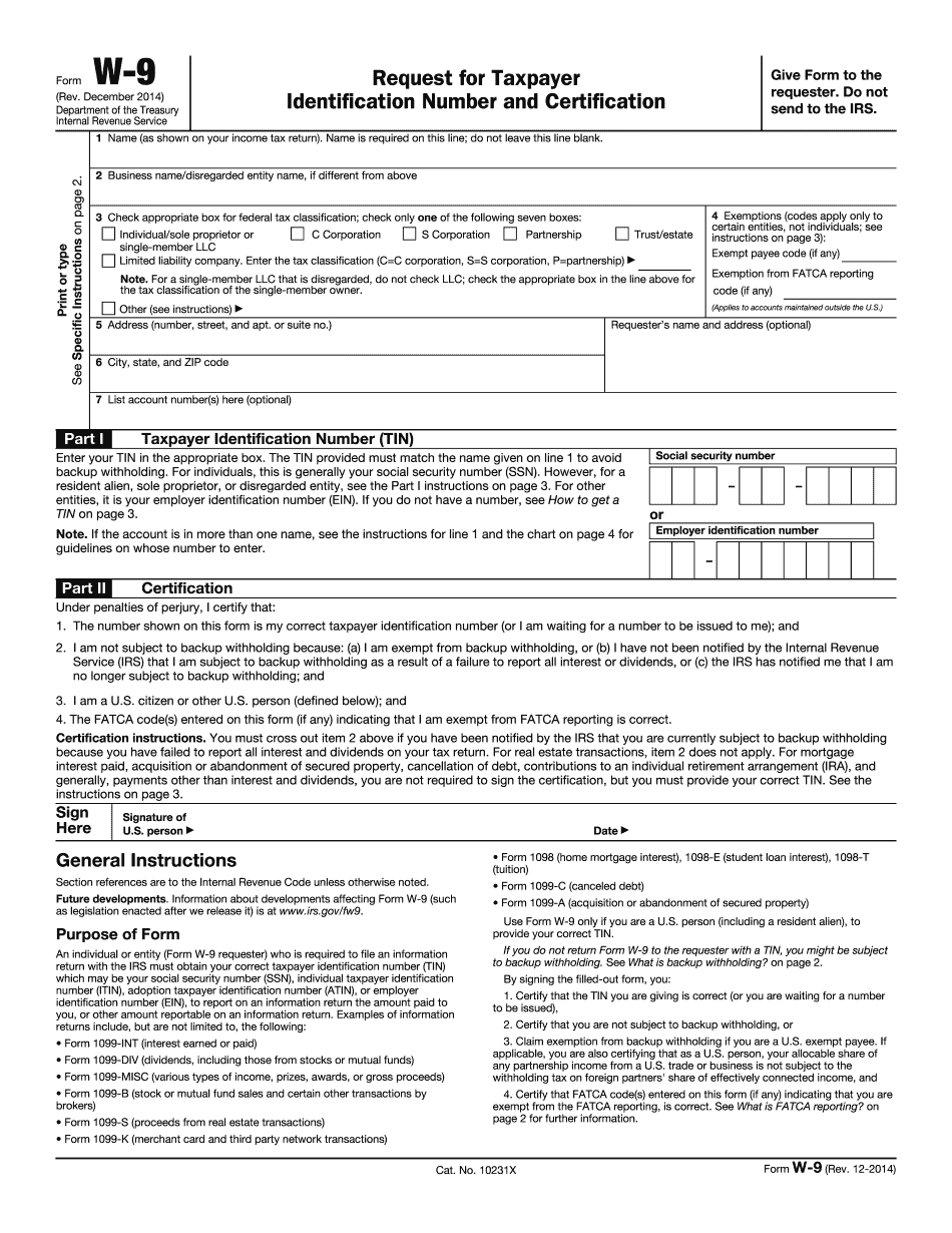 Form W-9 Used For