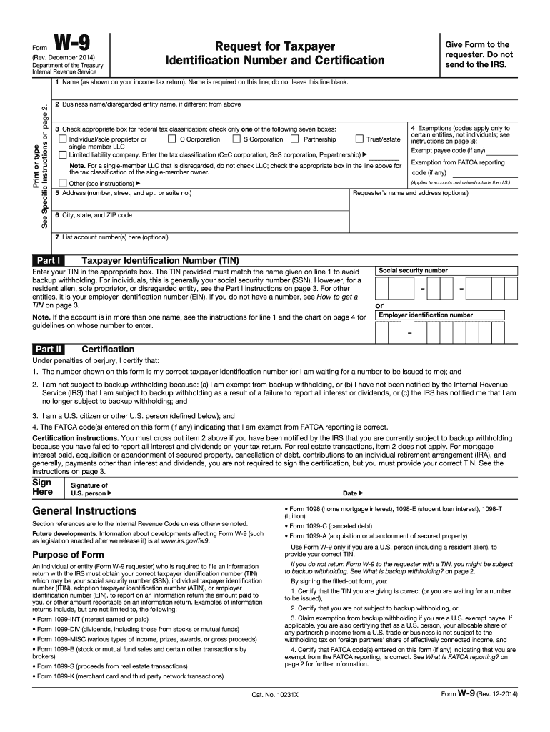 w 9 form request for taxpayer identification number and certification