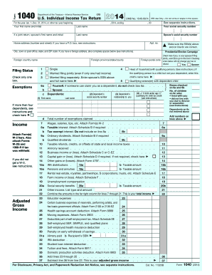 Fillable 1040 form 2014
