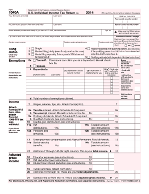 2014 Form Irs 1040 A Fill Online Printable Fillable