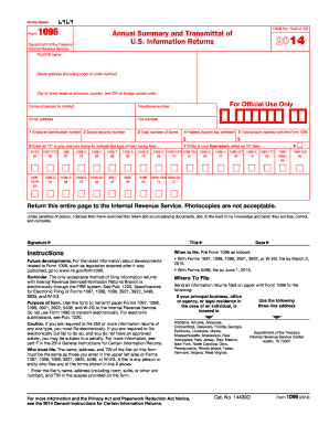 2014 Form IRS 1096 Fill Online, Printable, Fillable, Blank - PDFfiller
