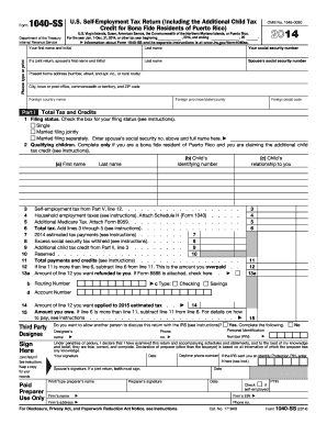 2014 form irs 1040 ss fill online printable fillable blank