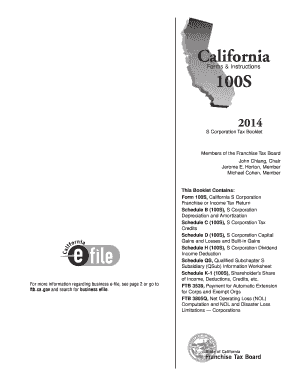 2014 Form Ca Ftb 100s Tax Booklet Fill Online Printable Fillable