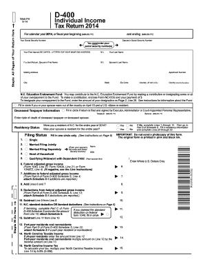 2015-2017 Form NC DoR D-400 Fill Online, Printable, Fillable ...