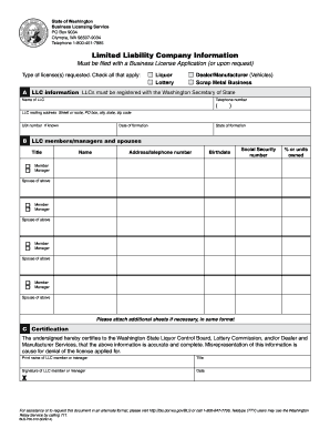 Printable washington state business license lookup - Fill