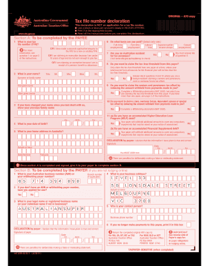 tax file declaration form 2012