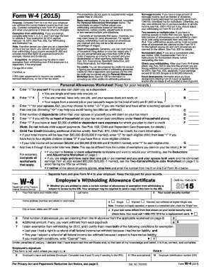 2015 Form IRS W-4 Fill Online, Printable, Fillable, Blank - PDFfiller