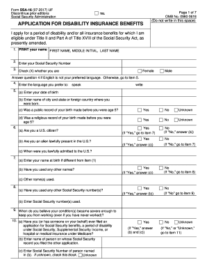 social security disability application status - Samples & Document