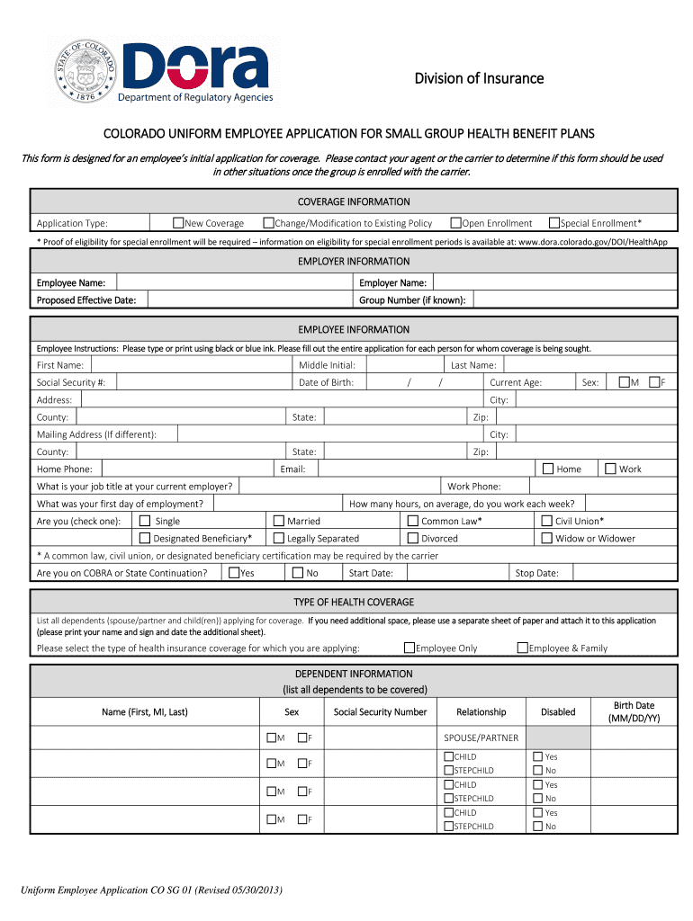 2013-2019 Form CO SG 01 Fill Online, Printable, Fillable
